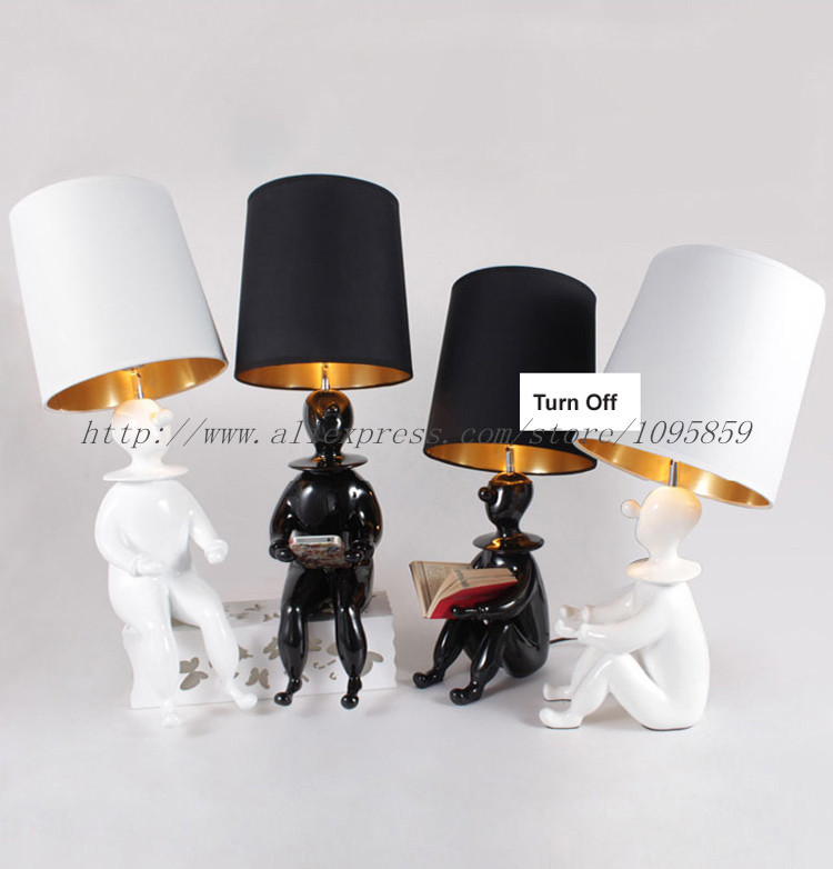 Modern Creative Clown Man Table Lamp Black White Color Table Lamp 1 E27 Light Dining Room Desk Reading Lamp(China (Mainland))