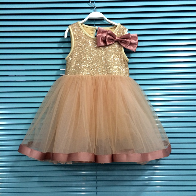 Girl party dres 2015 Summer New Style bow sequin sleeveless princess dress girl evening summer - Xin Mother's Store store