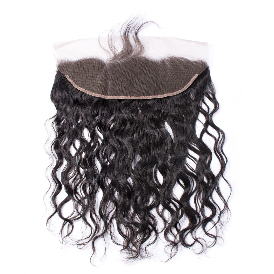 """Iwish Hair Peruvian Water Wave Lace Frontal Closure 13×4"""" with Baby Hair 100% Human Remy Hair Natural Color Free Part Frontal"""
