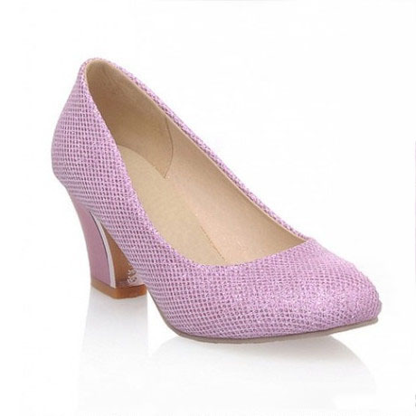 America Glitter Style Fashion Basic Square Heel Round Toe Casual Elegant Slip-On Women Shoes Woman High Heels Solid 3 Colors