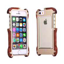 100% Genuine Wood+Metal Mobile CellPhone Phone Case for iPhone SE 5 5S Aluminum Luxury Wooden Back Frame Plate anti-knock Proof