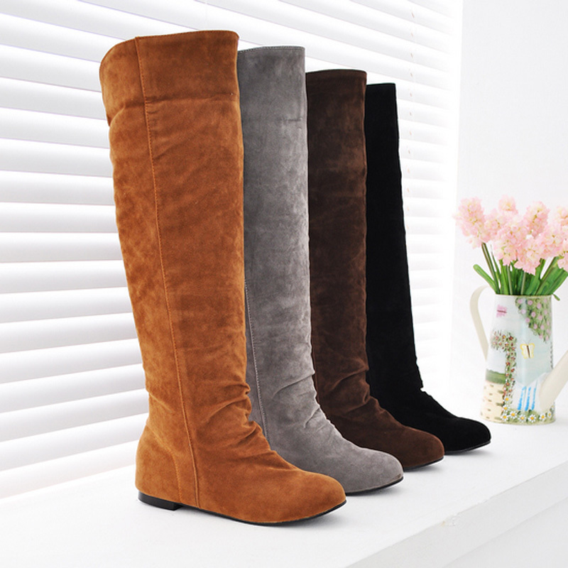 ENMAYER Big size 34-43 Hot sale high quality womens knee high boots fur snow boots winter woman shoes buckle long boots<br><br>Aliexpress