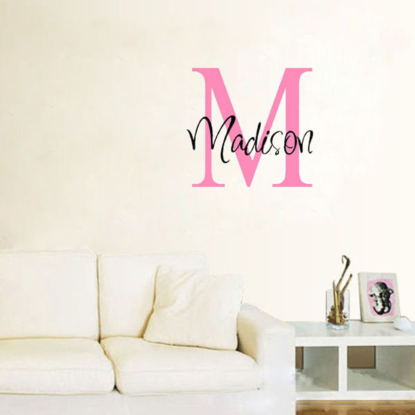Personalized Kids Girls Name Initial Wall Decals Lettering Custom Words Sticker Choose Name & Colors Vinyl Decal Home Decor(China (Mainland))