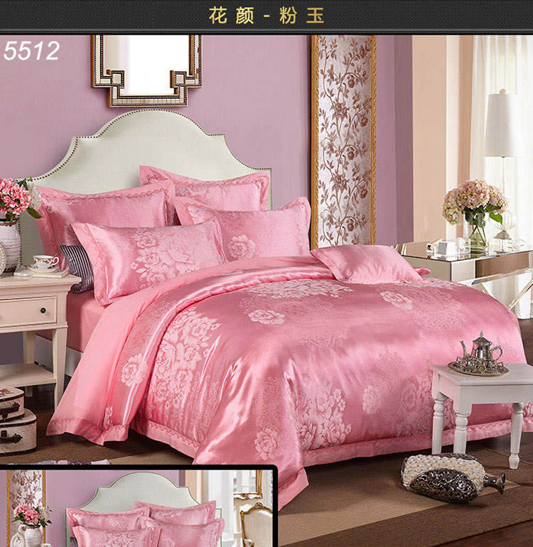 Pink silk bedding set flowers Tribute silk bed covers jacquard 4pcs bed set satin silk/cotton A/B sides quilt cover bedsheet5512(China (Mainland))