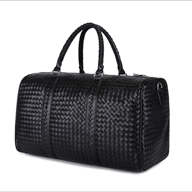 2016 Fashion Woven Leather Men's Travel Bags Black Genuine Leather Men Duffel bag Women's Travel Duffle Bag(China (Mainland))