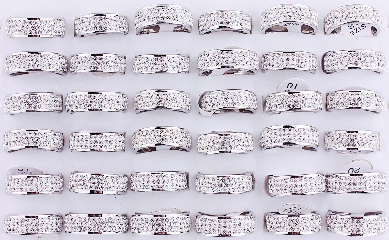 Wholesale Women's 25Pcs Silver Plated 6MM Stainless steel Women's Pleasure Three Row Rhinestone Christmas Gift rings Reselling(China (Mainland))
