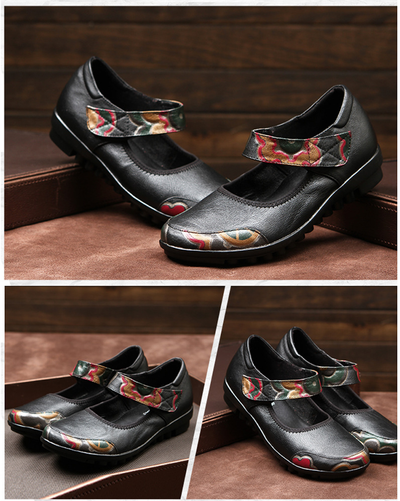 Retro Printing Leather Leisure Shoes Soft Bottom Slip Shoe Flat With Casual Middle-Aged Mother Shoes Women 2016 Summer Size 41