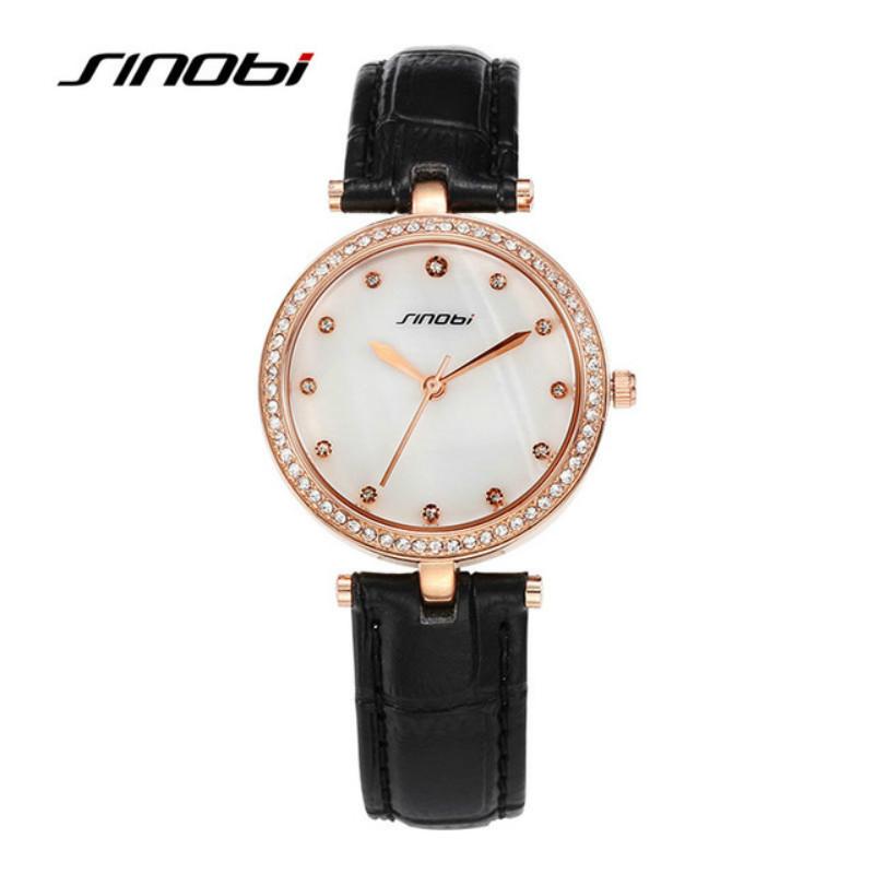 Cuarzo de SINOBI reloj de lujo mira el reloj de diamantes de las para mujer Super Thin negro Band relojes caliente de negocios de marca horas reloj(China (Mainland))