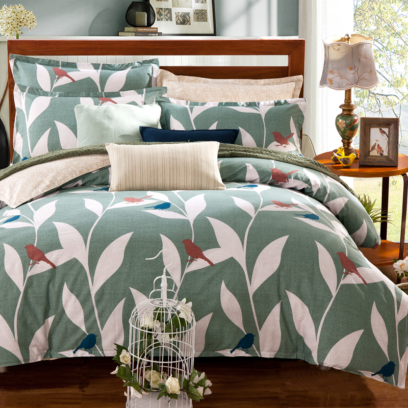 pastoral style bed linens white leaves bird pattern light green Cotton bedding sets queen double size Duvet cover set flat sheet(China (Mainland))