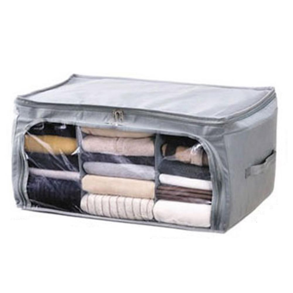High Quality Foldable Bamboo Fibre Home Storage Bag Box Quilt Cloths Organizer Free Shipping(China (Mainland))