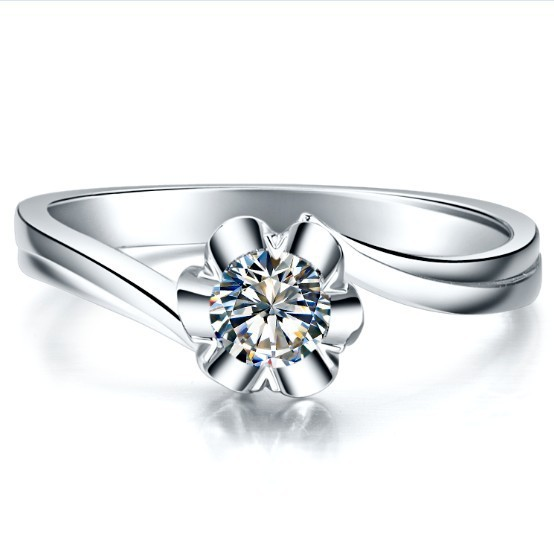 Solid 18K White Gold 0.25CT Snow Flake Genuine Moissanite Ring Solid 18K Gold Engagement Anniversary Ring Never Fade(China (Mainland))