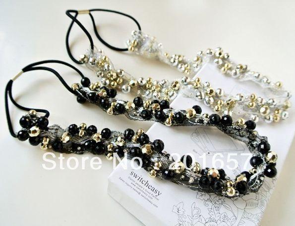 Wholesale freeshipping charming Fshion handmade beads sewing elastic headband black and silver