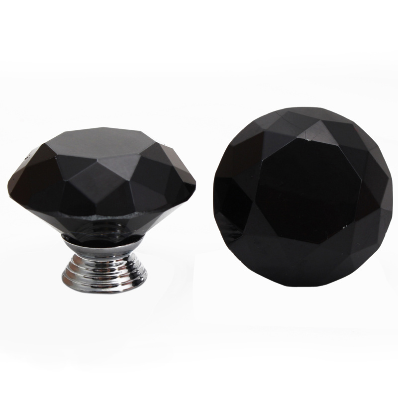 2pcs 30/40mm Crystal Glass Diamond Shape Door Handle Knob with Screws Home Kitchen Cupboard Drawer Wardrobe Hardware Black/Clear