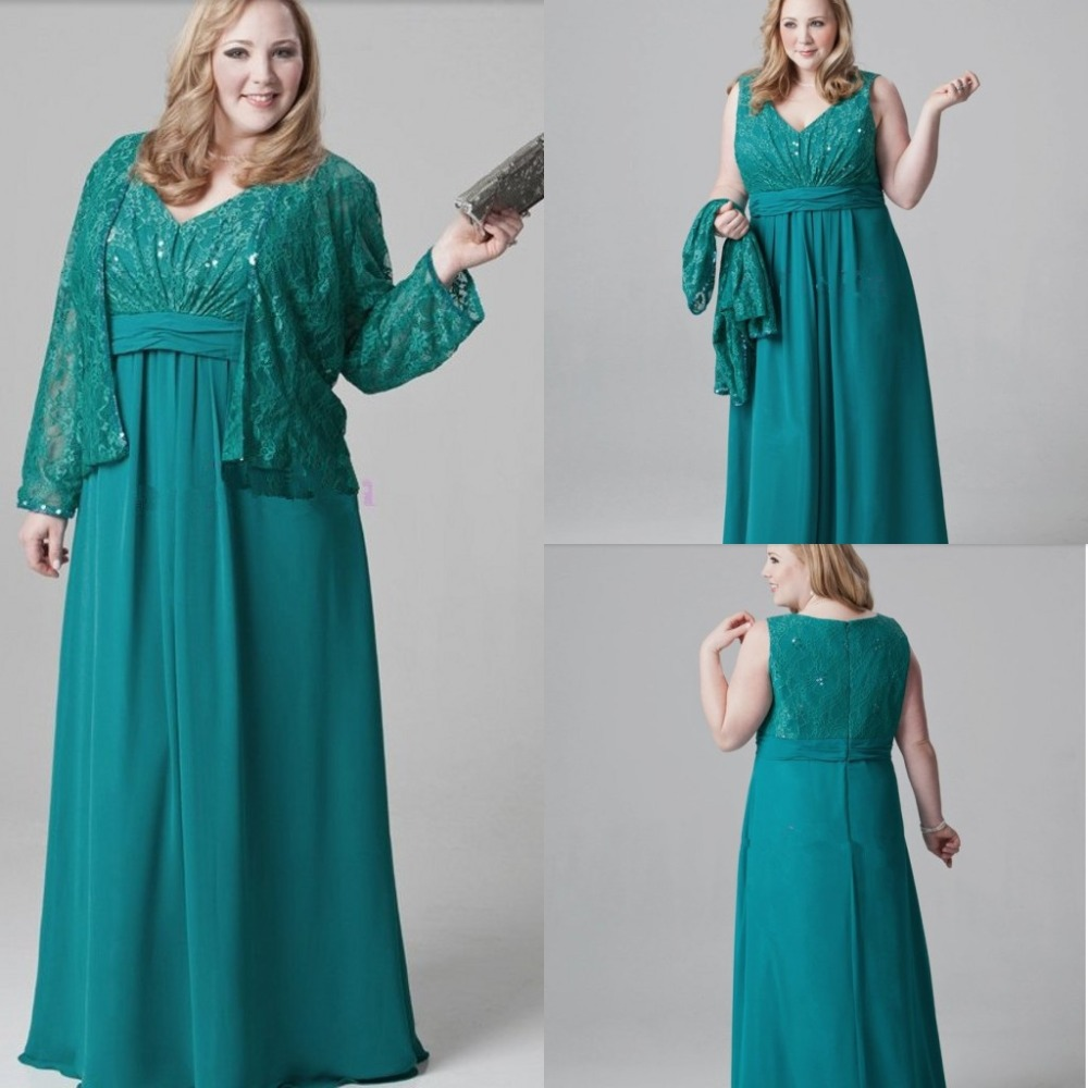Plus size emerald green mother of the bride dresses lace for Dress and jacket outfits for weddings