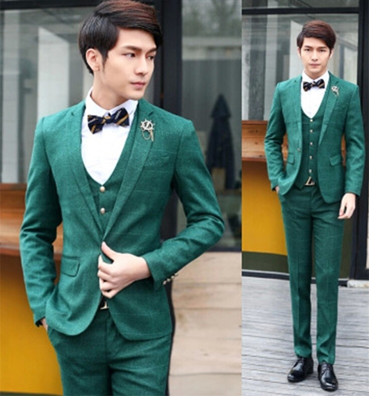 2015 New Brand korean casual plaid suits Slim Fit Mens groom wedding dress suits 3 Pc Set Business Suits( jacket+ vest + pants )(China (Mainland))