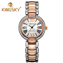 Diamond Roman Numerals Gold Quartz Kingsky Watch Dress 2015 Fashion Casual Alloy Lady Two Tone Classic