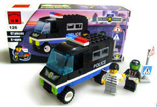 intelligence toy building blocks puzzle blocks Police car model kit Luban kids gift