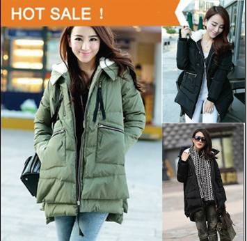 2014 New Winter Womens Padded Down Jacket Long Thick Warm Military Jackets Casual  Loose Outwear Overcoat 2 ColorsОдежда и ак�е��уары<br><br><br>Aliexpress