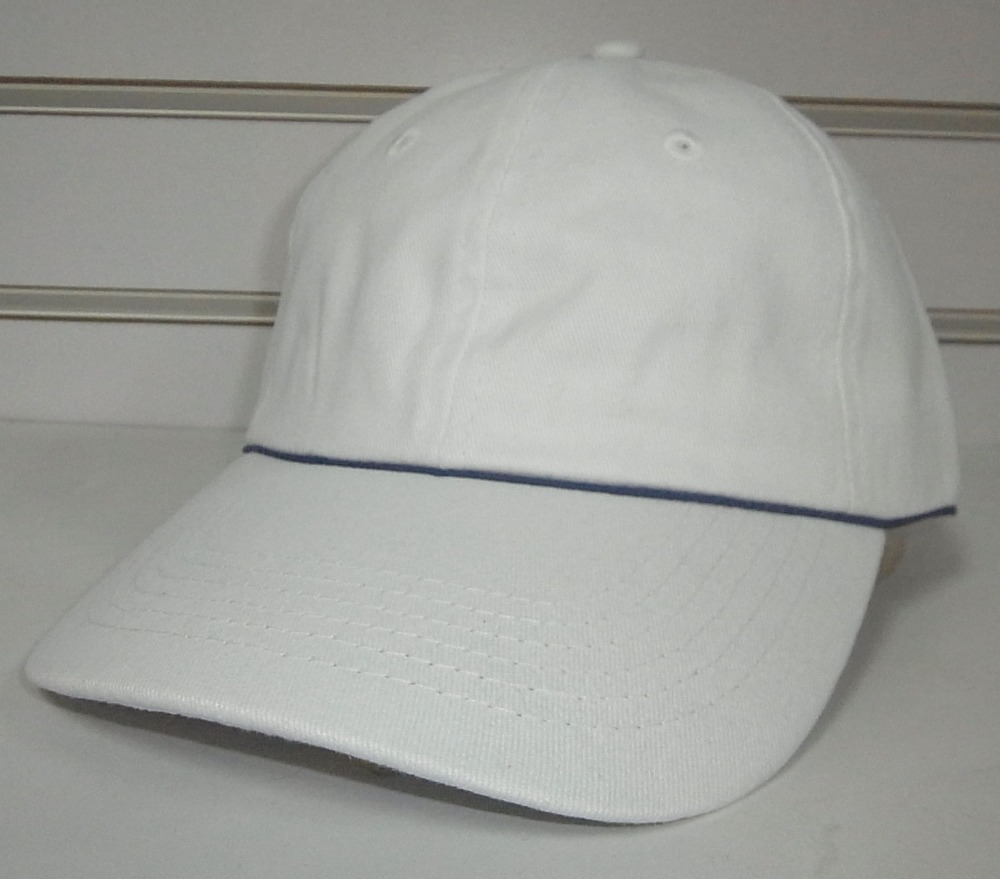 Free shipping simple promotional baseball cap 6 panel cap sport hat-white with blue back closure(China (Mainland))