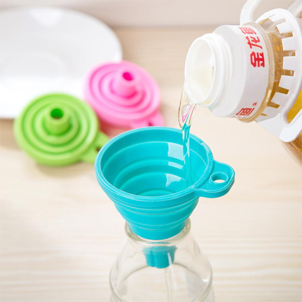 High Quality Mini Silicone Gel Foldable Collapsible Style Funnel Hopper Kitchen cooking tools Random Color(China (Mainland))