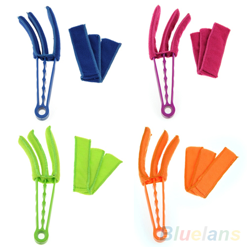 Microfiber Venetian Blinds Duster Slat Cleaner Triple Dust Clean Clip Brushes 2KOY(China (Mainland))