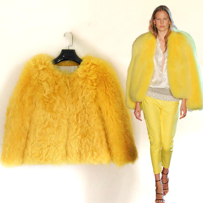2014 Winter Tshow women fur coat genuine Elegant Outwear Sheepskin shearling Cardigan  -  Amazing Fur Boutique store