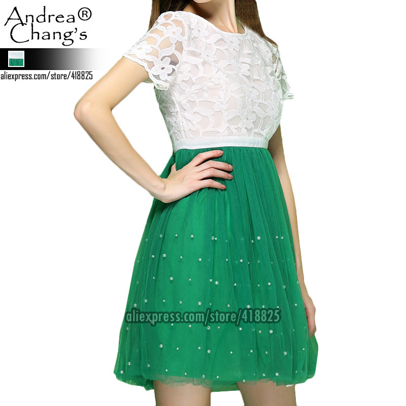 2013 spring summer designer womens dresses contrast color white lace top green gauze pearl beading ball gown cute brand dressОдежда и ак�е��уары<br><br><br>Aliexpress