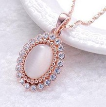 Fashion Necklaces Jewelry Rose Gold Plate Opal Crystal Water Drop Necklaces Pendants, Women Wedding Cat Eyes Rhinestone Necklace(China (Mainland))