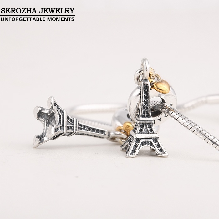 Authentic 925 Sterling Silver Eiffel Tower Charms Fit  Bracelets Dangle 14K Gold Plated Heart Charm Pendant Jewelry