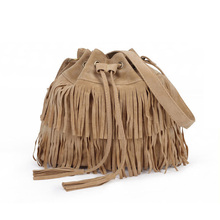 Drawstring Viagdo Solid Women Boho Bags Tassel Faux Suede Bags Fringe Crossbody Shoulder Bags(China (Mainland))