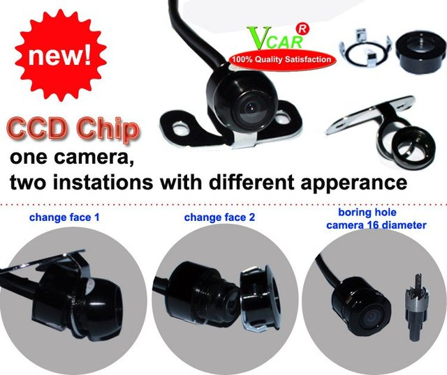 Night Vision Car Rear Camera View Reverse Backup  for One camera-Two faces Fix front & back