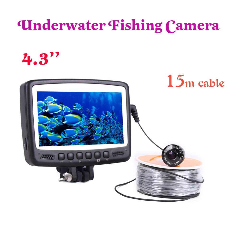 4.3'' Monitor Underwater Fishing Video camera system for fishing video camera 15M Cable fish finder kit fish finder 8 light(China (Mainland))