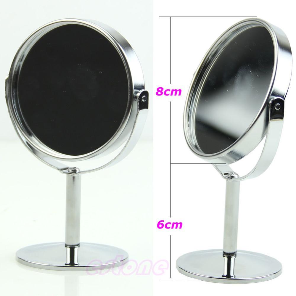 Free shipping Women Mini Circular Makeup Cosmetic Dual 2Sided Normal + Magnifying Stand Mirror(China (Mainland))