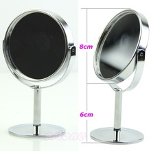 Mini Women Circular Makeup Cosmetic Dual 2Sided Normal + Magnifying Stand MirrorFreeshipping -Y103(China (Mainland))
