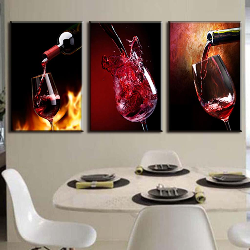 3 Pieces Modern Spray Canvas Painting Pour red wine group oil paintings for Dining Room Wine picture on wall(China (Mainland))