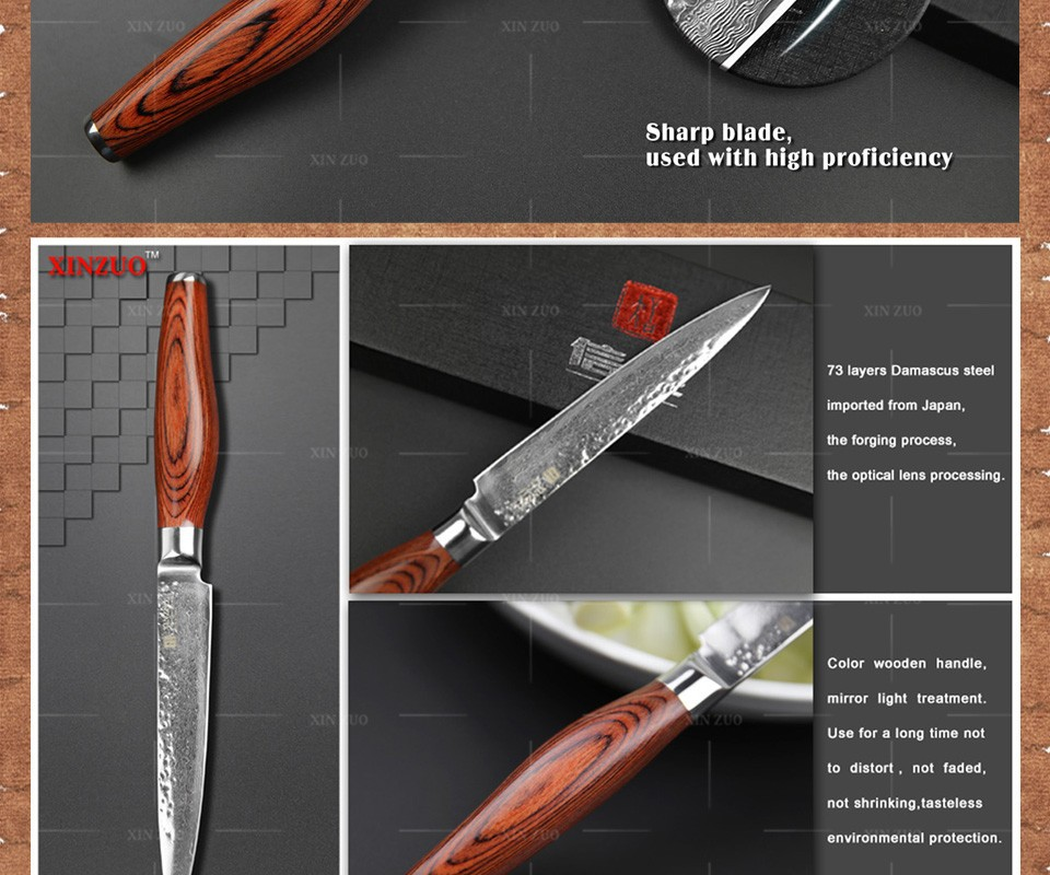 "Buy 2015 NEW 5"" Multi-purpose knife Damascus kitchen knives utility cutter kitchen knife  damascus steel utility knife FREE SHIPPING cheap"