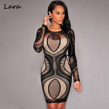 Winter 2016 Solid Geometric Long Sleeve Mini Lace Crochet Bodycon Dress Black Desigual Vestidos Sexy Club Beach Party Dress