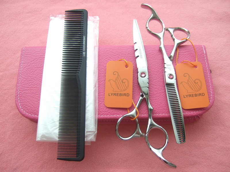 Hair scissors set LYREBIRD 5.5 INCH or 6 INCH Barber scissors Pink stone Pink bag + 1 comb + 5 disposable hair cutting cape NEW(China (Mainland))