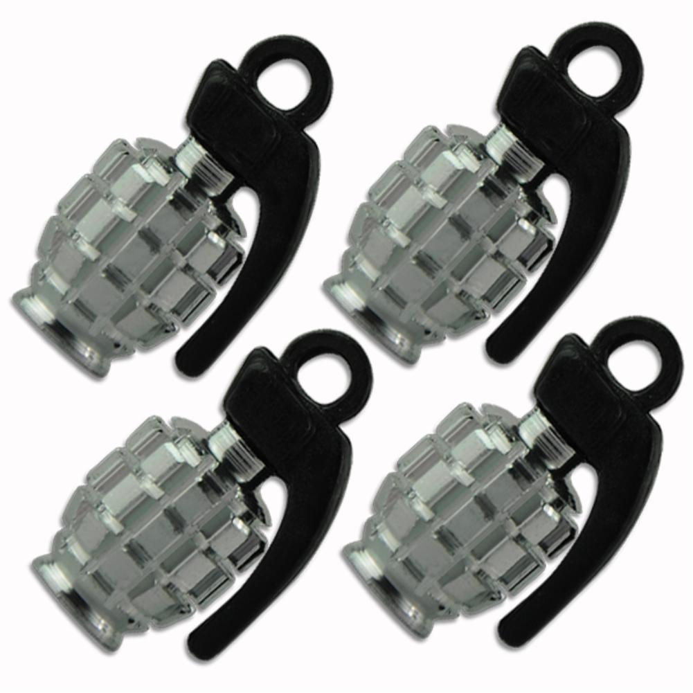 EG5804 4PCS METAL GRENADE DESIGN CAR MOTORCYCLE BIKE TIRE TYRE VALVE DUST CAPS SILVER