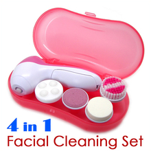 Fashion 4 in 1 Facial Face Cleaning Set Callus Remover Machine Electronic Body Beauty Massage Skin Pore Massager Free Shipping(China (Mainland))