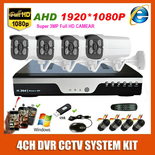 New Super HD 4CH AHD 3MP Outdoor CCTV System Kit 4 Channel Array Surveillance Camera 1080P recording Security System Kit(China (Mainland))