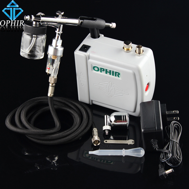 OPHIR Portable Airbrush Kit wth Mini Air Compressor Pro Dual Action Airbrush Paint for Hobby Cosmetics Tattoo Makeup Body Paint(China (Mainland))