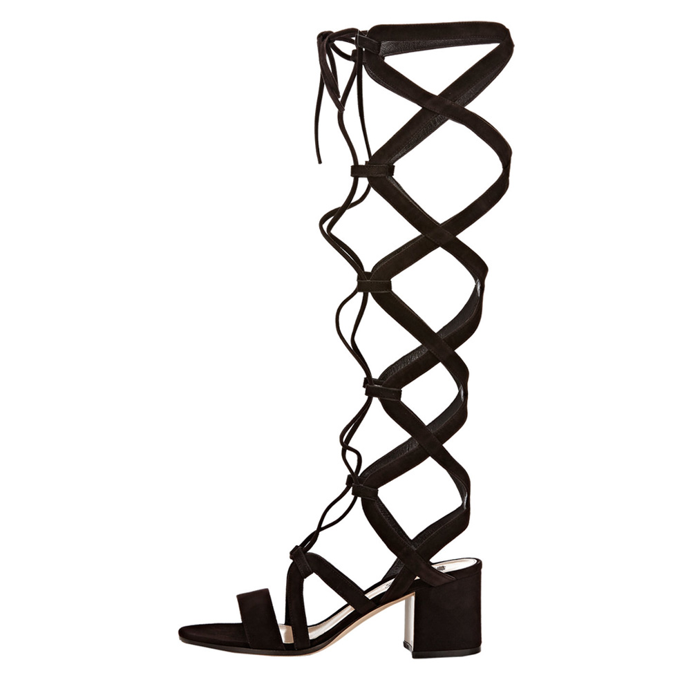 Novelty  women gladiator sandals 2016 sexy elastic band open toe square heels sandals shoes woman Plus size can be customized<br><br>Aliexpress