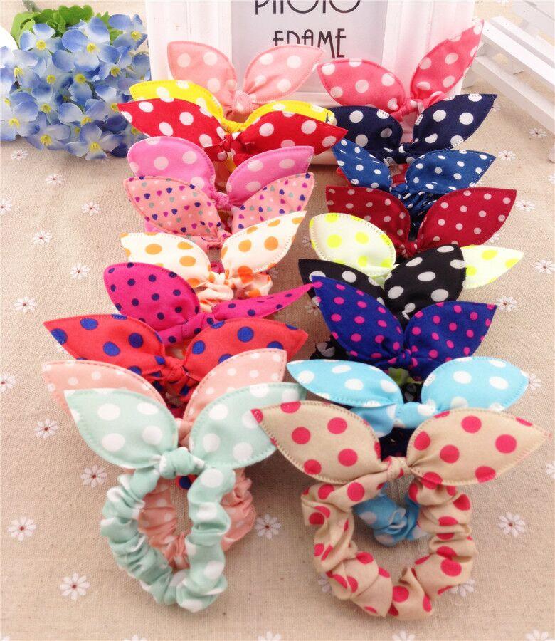 10Pcs/Lot Mix Style Clips Hair band Polka dot leopard trip hair rope Rabbit Ears Headwear Hair tie girl hair accessories