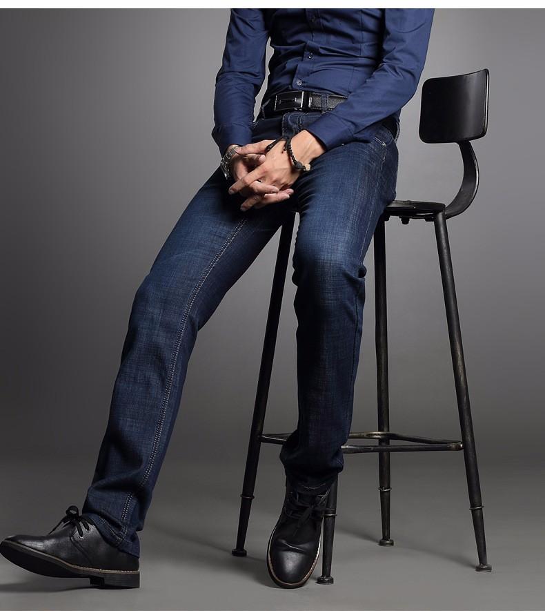 Скидки на 2016 Осенью новый прибытие мужской моды простой мерсеризованный хлопок джинсовые прямые брюки молодежные мужчины бизнес случайный эластичные джинсы