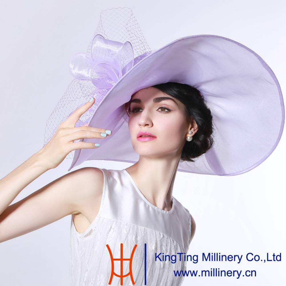 June'syoung 2015 Summer New Fashion Organza Hat 100% Organza Wide Brim Romantic Purple Color Elegant Lady Summer Sun Fedoras Hat(China (Mainland))