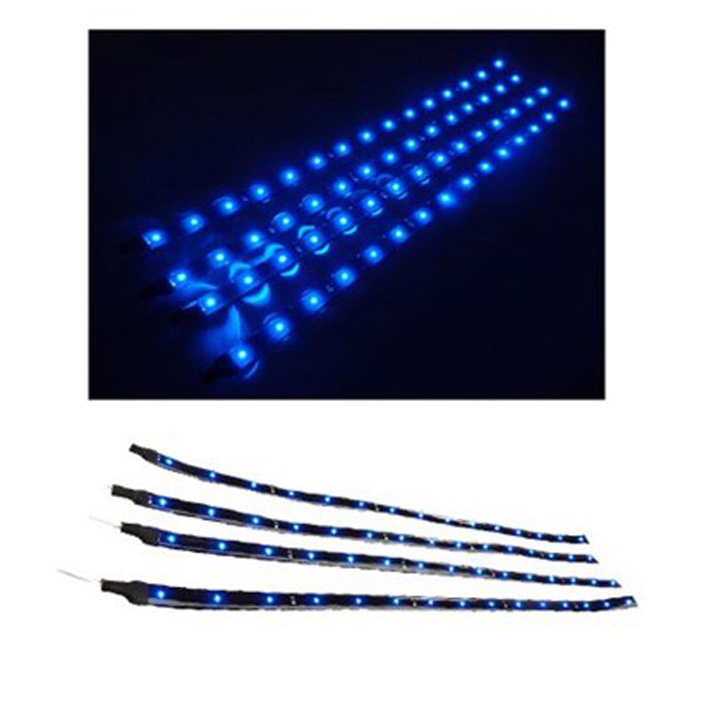USA Delivery 4 Pcs 30cm Car Truck Flexible Waterproof LED Light Strip Blue(China (Mainland))