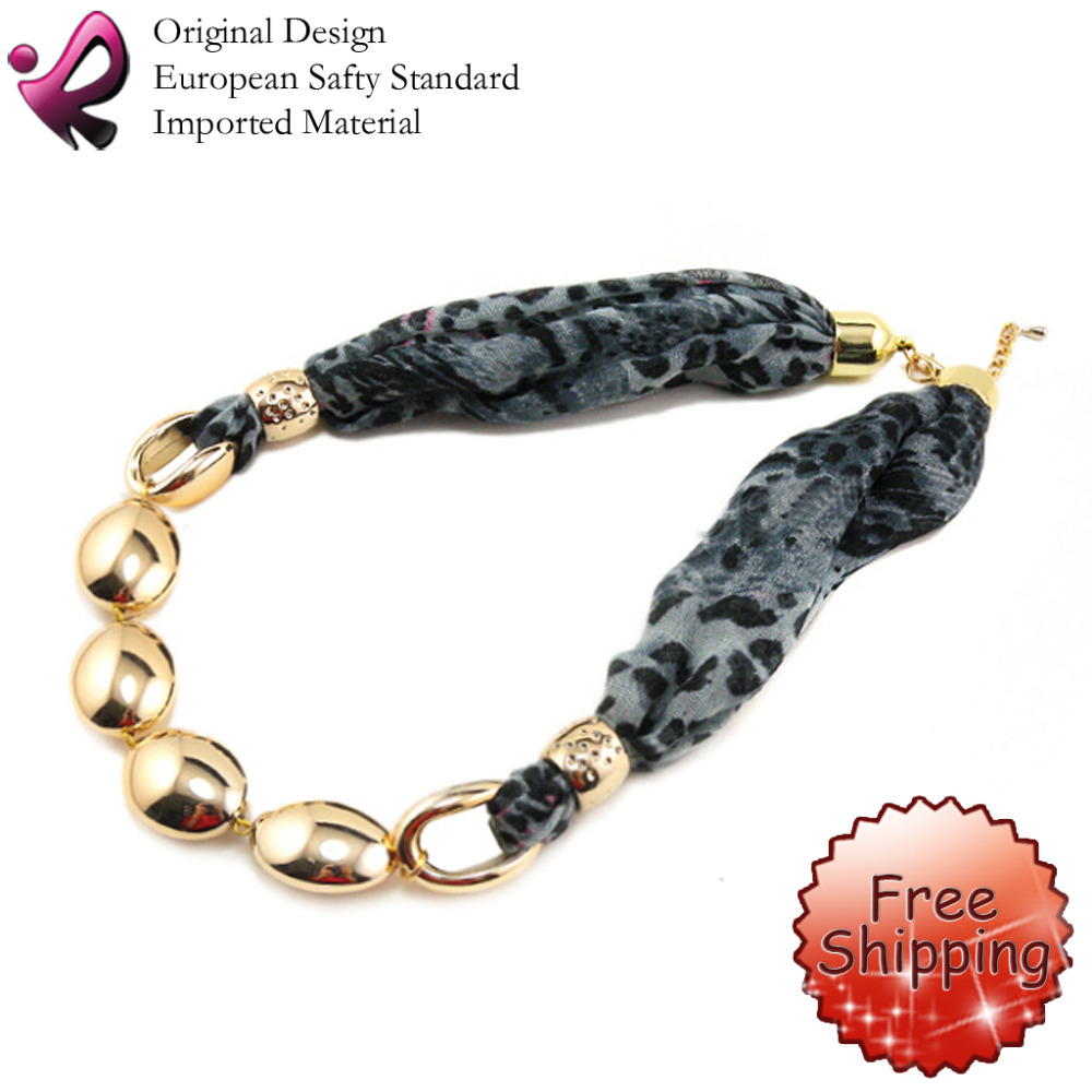 Fashion Jewelry Short scarf Leopard Print Grey With CCB Golden Plated Wrap Chains OFNS-579GR Free Shipping(China (Mainland))