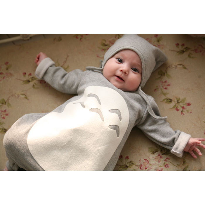 2015 High Quality Baby Boys Girls Clothes Cute Baby Rompers Baby Cartoon Jumpers Japanese Totoro Cartoon For Autumn Winter(China (Mainland))