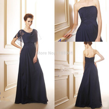 Wholesale - New Arrival Dark Navy Mother of the Bride Groom Dresses Bridesmaid Dresses A-Line Chiffon Backless With Jacket Z607(China (Mainland))